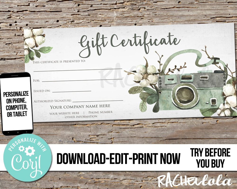 Photography Gift Certificate Gift Certificate Template Etsy Gift Certificate Template Photography Gift Certificate Template Photography Gift Certificate