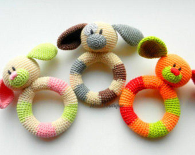 VENTA bebé juguete Sonajero dentición bebé juguete agarrando dentición Crochet juguetes perro de peluche juguetes bebé ducha regalo bebe regalo de Navidad
