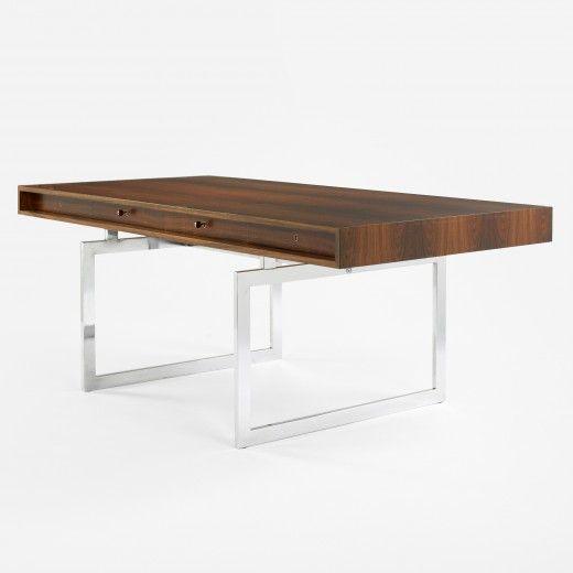 BODILKJAER  desk  E. Pedersen &Son Denmark, c. 1959 rosewood, stainless steel 72.5 w x 36 d x 28.25 h inches Desk features four locking re...