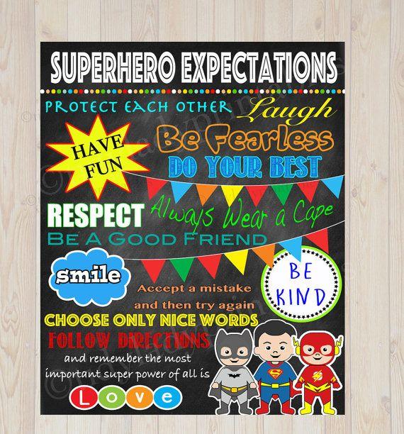 Superhero Classroom Decor Printables : Superhero classroom rules poster printable instant