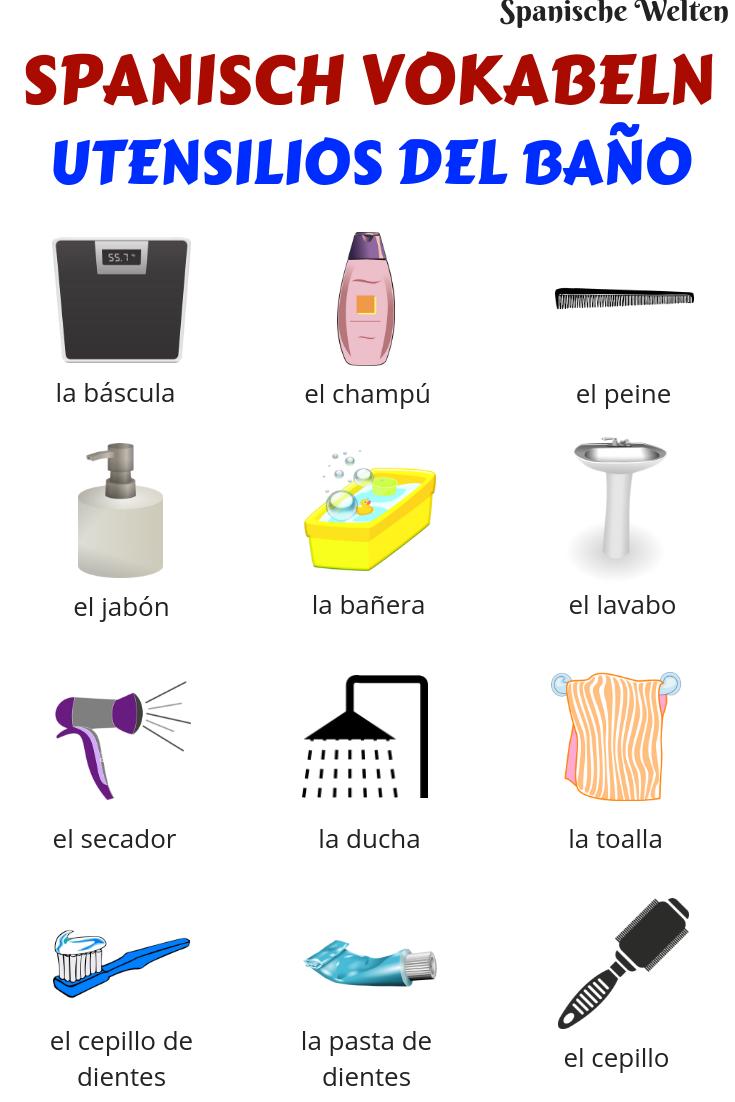 Spanisch Vokabeln Badezimmer Spanisch Vokabeln Spanisch Vokabeln Lernen Spanisch Lernen