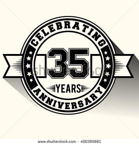 35 Years Anniversary Logo 35th Anniversary Sign Retro Design