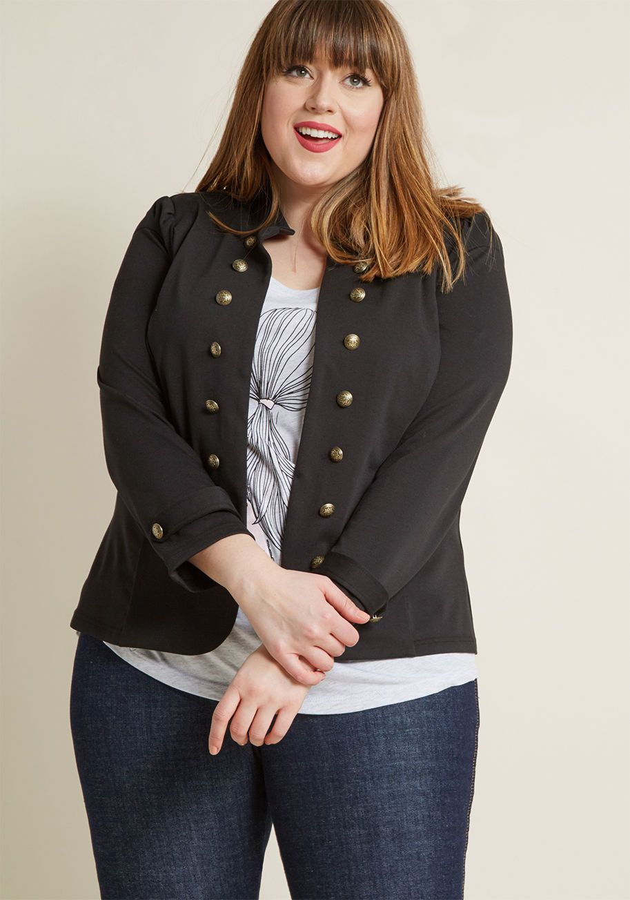 22b3b9ec0 Wearing this tailored, black blazer totally feels like a dream! Graced with  a chic stand-up collar, rows of gold, military-inspired button.