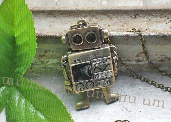 Antique Necklace move robot crystal Bronze Pendant Brass by jkypps,