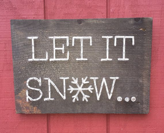 Let It Snow String Art Nail Art Rustic Wooden Board Yarn