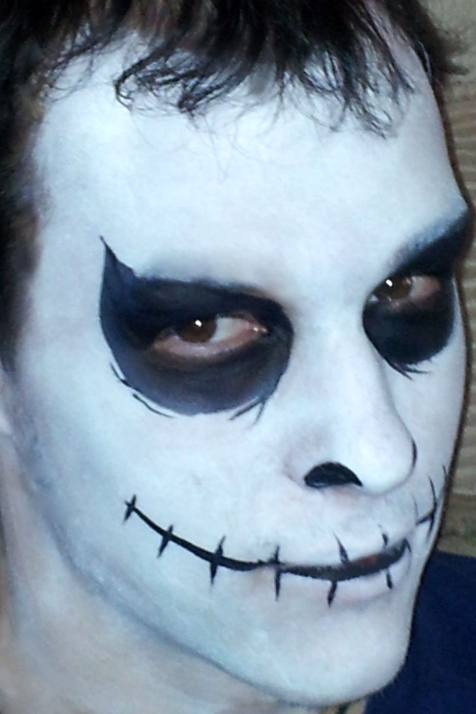 Creepy Jack Skellington face paint for Halloween. Base