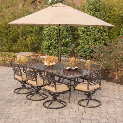 Canora Grey Robicheaux 9 Piece Dining Set With Cushions Cushion Color Tan Umbrella Color Tan Patio Patio Dining Set Swivel Dining Chairs