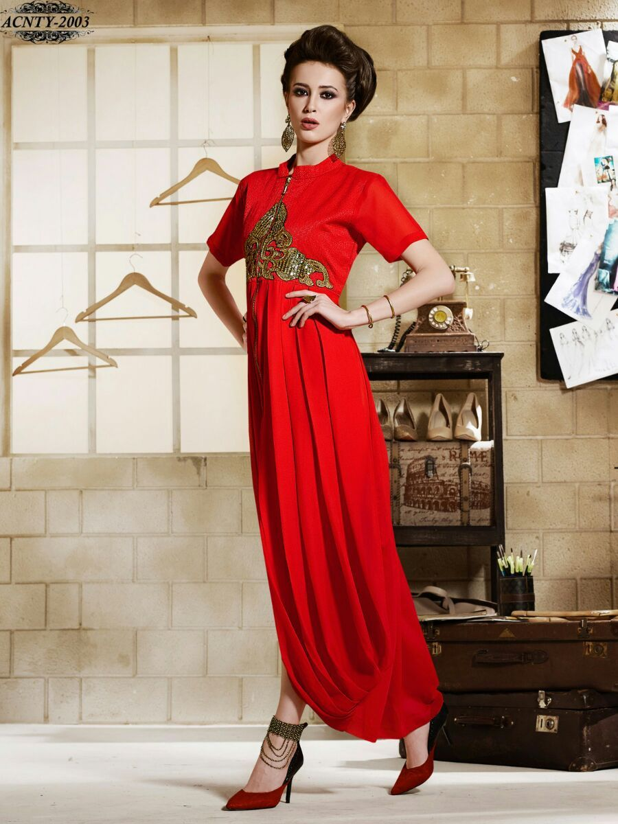 a760a346394 Red Colour Embroidery Georgette Stitched Kurti