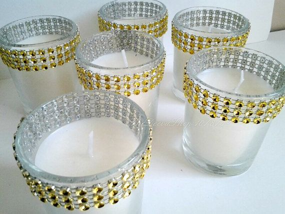 Votive Candles Gold Bling Rhinestone Diamond by TheDeevaShop