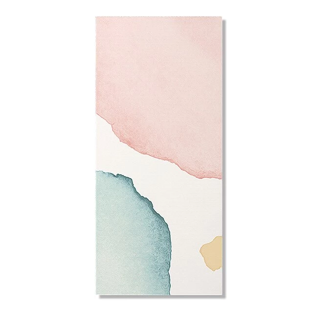 Photo of Modern Minimalist Watercolor Abstract Column Print Wall Art Pink Blue Green Beige Fine Art Canvas Prints For Hallway Living Room Home Decor