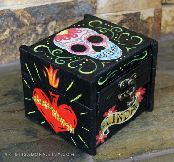 Custom Personalized Sugar Skull Wooden Box Day Of The Dead Memory Jewelry Gift Or Trinket Box Dia Hand Painted Wooden Box Wood Jewelry Box Jewelry Box Diy