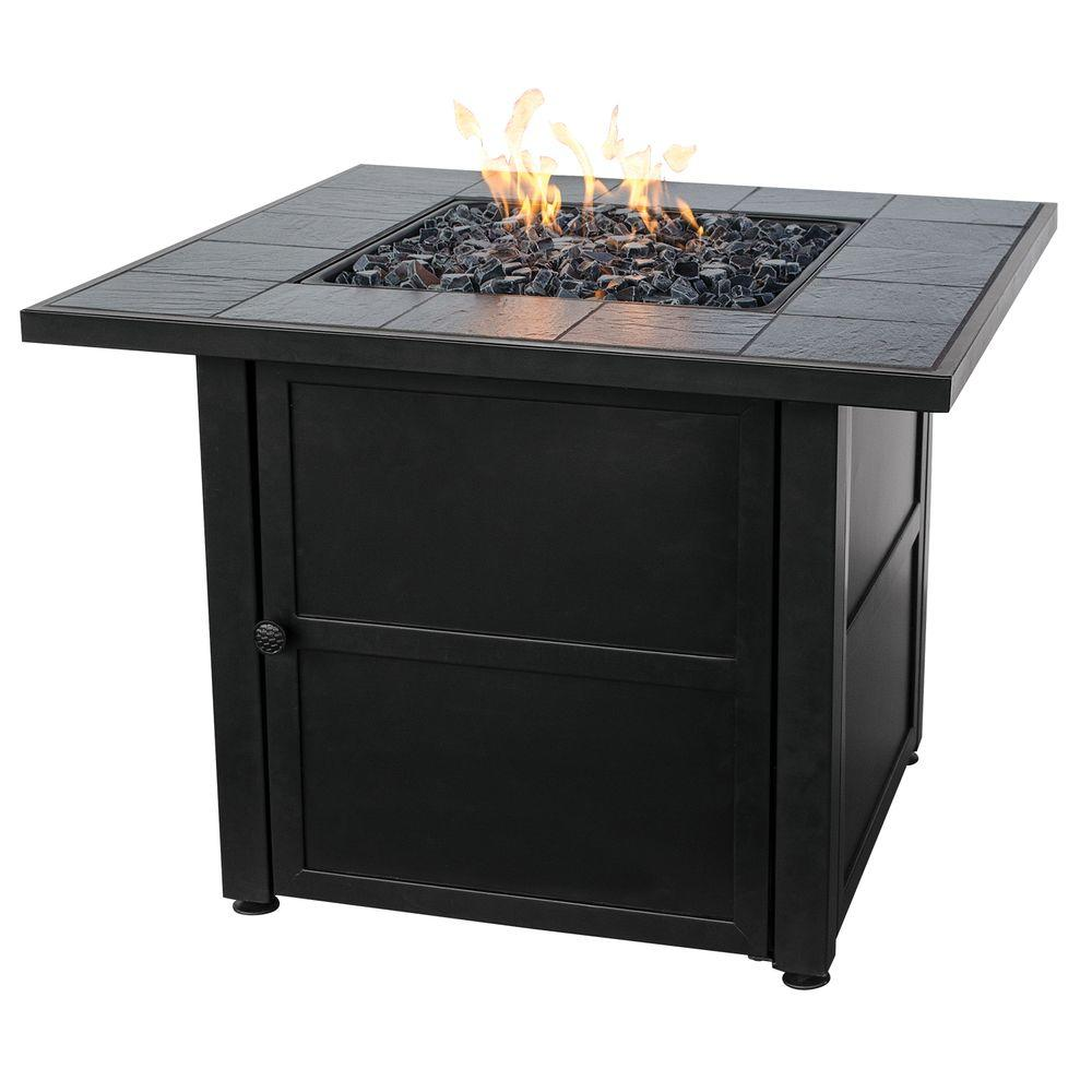 Uniflame 31 5 In W X 31 5 In D Black Slate Ceramic Tile Lp Gas Fire Pit With Electronic Ignition And Black Fire Glass Gad1399sp The Home Depot Propane Fire Pit Table