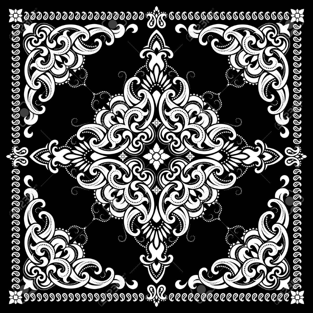 Black Bandana Google Search Rhythm Art Paisley Stencil Bandana Design