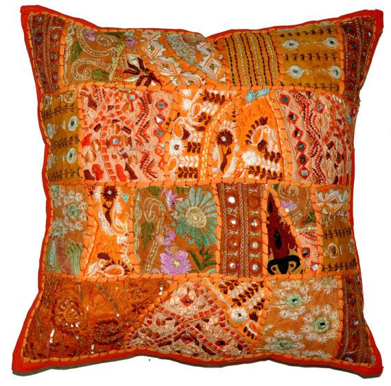 24x24 Indian Patchwork Pillow Cover Orange Bohemian Pillow Indian Cushion Cover Large Throw Pillow Cover Large Throw Pillows Patchwork Pillow Throw Pillows