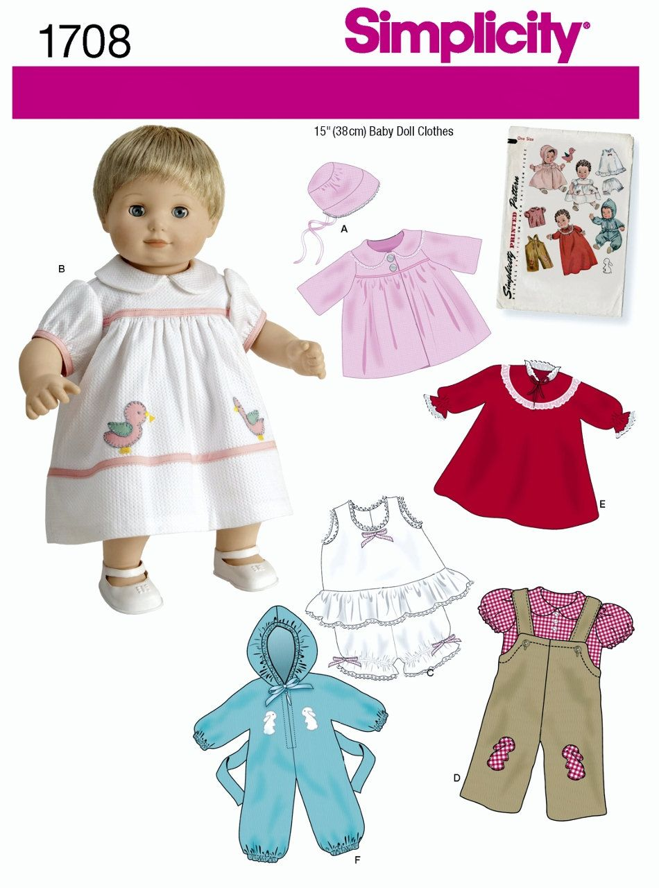 Sewing Pattern For 15 Inch Baby Doll Clothes Pattern Vintage Etsy Baby Doll Clothes Patterns Baby Doll Clothes Bitty Baby Clothes
