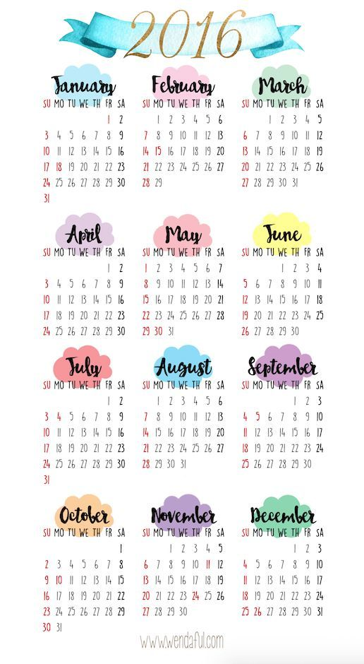 Free Planner Printable - 2016 Yearly Overview Calendar 2016 - yearly calendar
