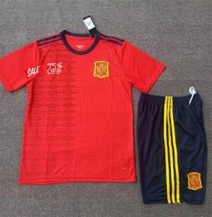 28fefebe0d9 2019 Cheap Youth Kit Spain Home Replica Soccer Kids Suit 2019 Cheap Youth  Kit Spain Home