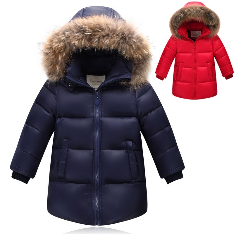 13417c8bd64b Children Duck Down Winter Warm Jacket With Fur Baby Boy Girl Solid Overcoat Hooded  Winter Jacket Kid Clothing Fashion Down Coat