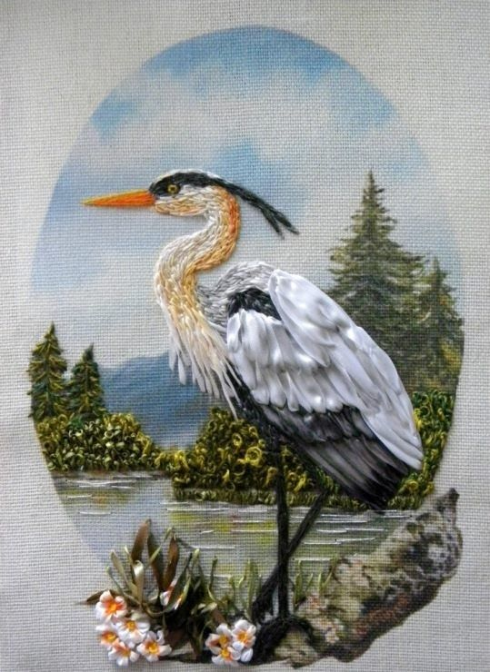 Heron ribbon embroidery