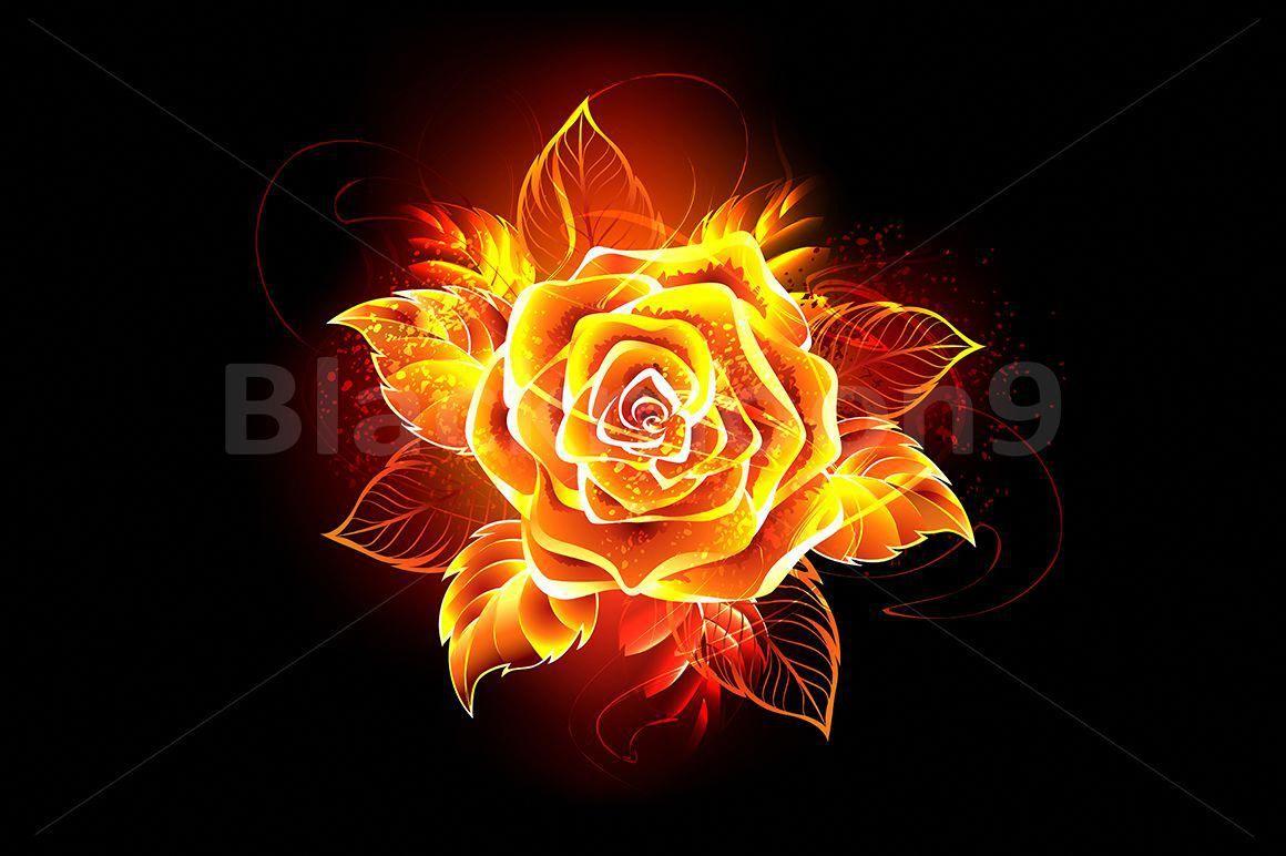 Blooming Fire Rose 98183 Illustrations Design Bundles Rose On Fire Fire Flower Flame Art