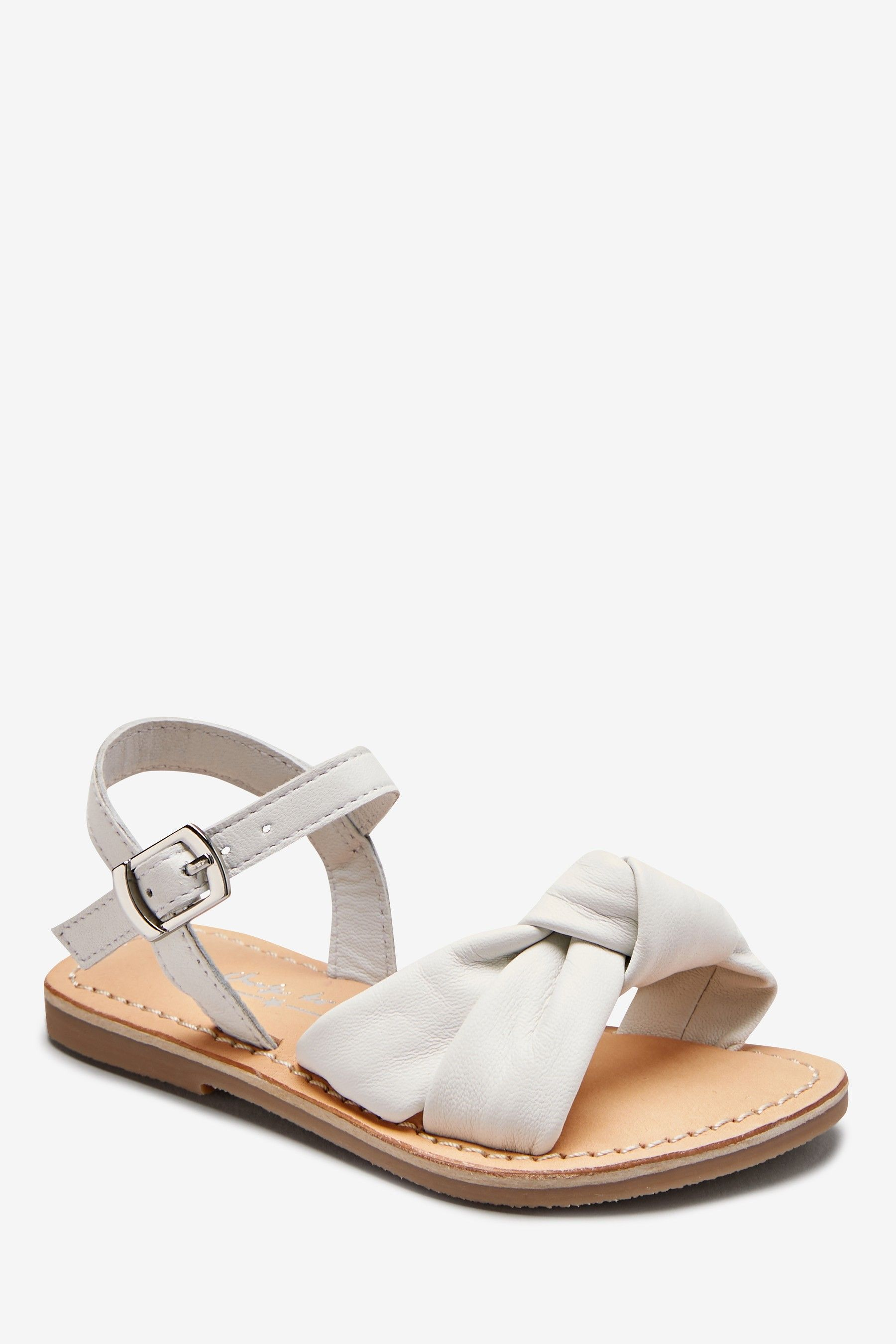 Girls Next White Leather Knot Sandals