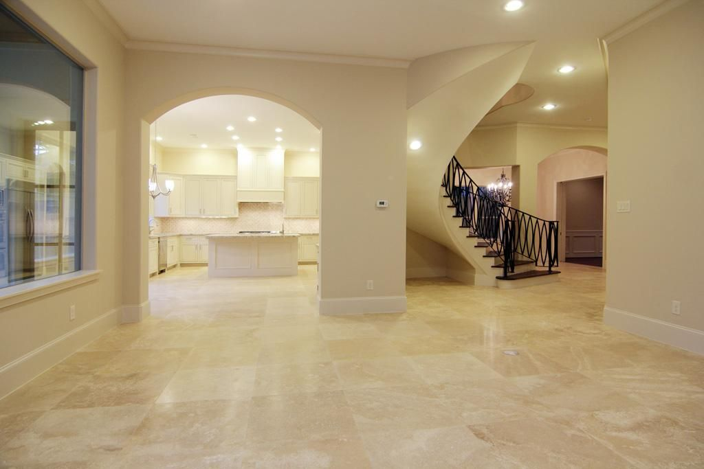 Travertine Floor With Wood Frame Google Search Home