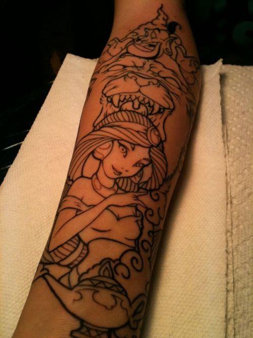 Aladdin tattoo love the way jasmin looks disney tattoo for Aladin tattoo salon