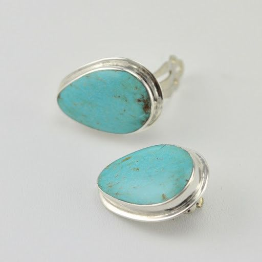 [3633] sterling silver turquoise 12x18mm wide tear clip earrings