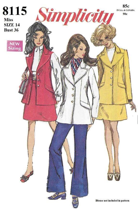 Simplicity 8115 Misses\' 60s Jacket, Sleeveless Jacket, Skirt and ...