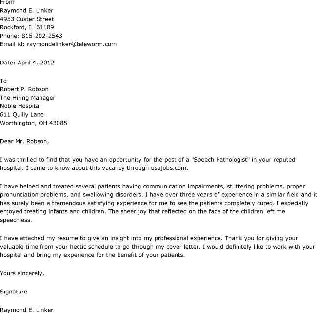 Cover letter for speech language pathologist assistant Study our - proper cover letter format
