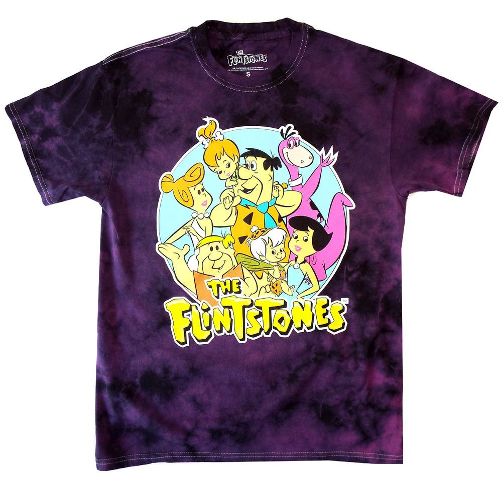 238cdfd7 The Flintstones Tie Dye T-shirt Purple Vintage Cartoons NEW! #TheFlinstones  #GraphicTee