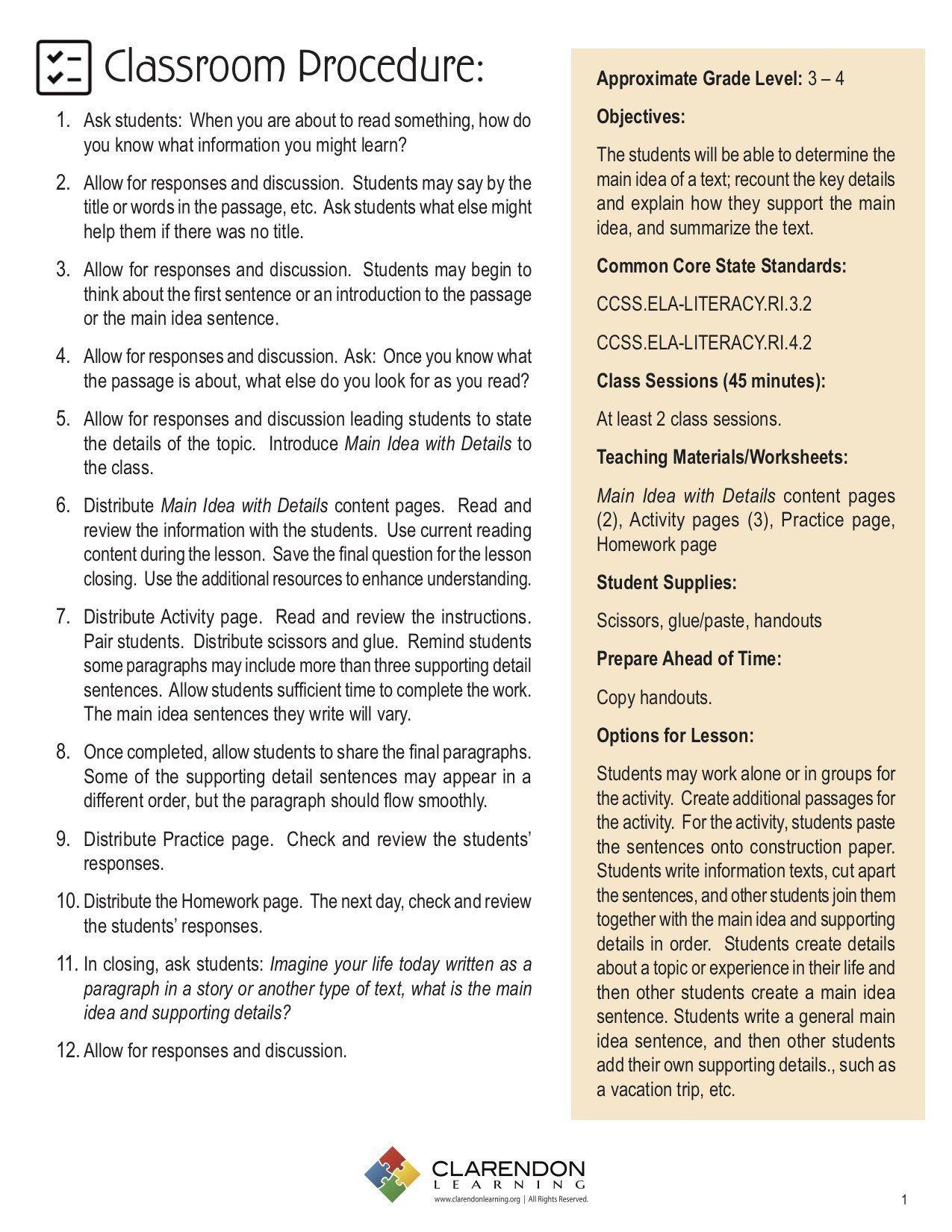 3rd Grade Main Idea Worksheets Main Idea With Details