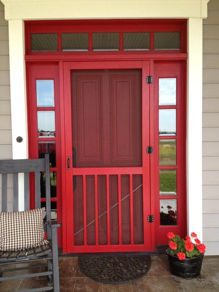 Red Door With A Screen Front Door With Screen Red Front Door Screen Door