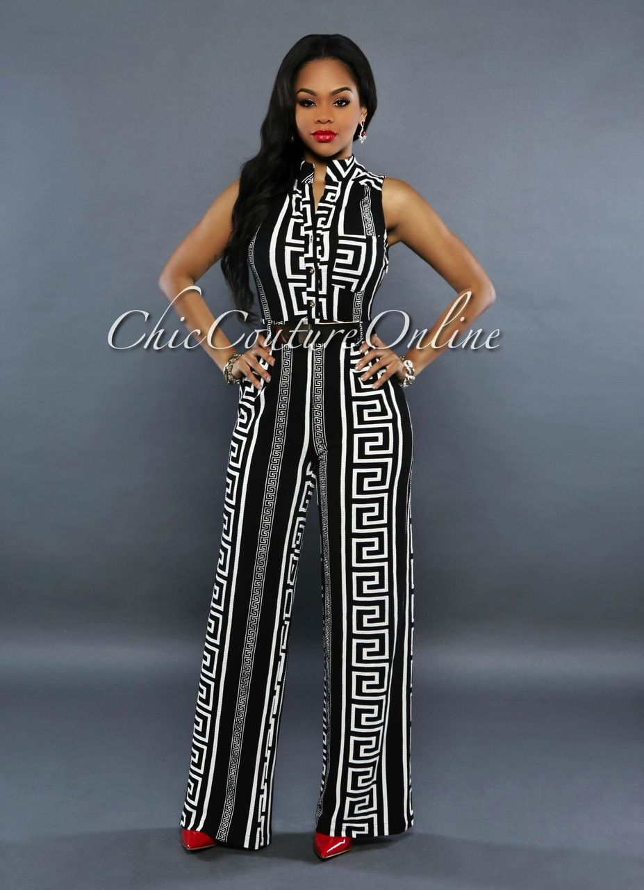 49f3a0cc32f Chic Couture Online - Versa Black White Print Gold Belted Jumpsuit
