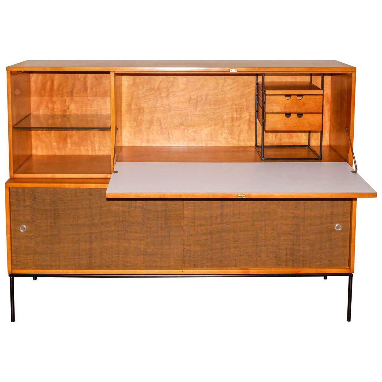 Paul McCobb Cabinet and Desk Unit | From a unique collection of antique and modern secretaires at https://www.1stdibs.com/furniture/storage-case-pieces/secretaires/