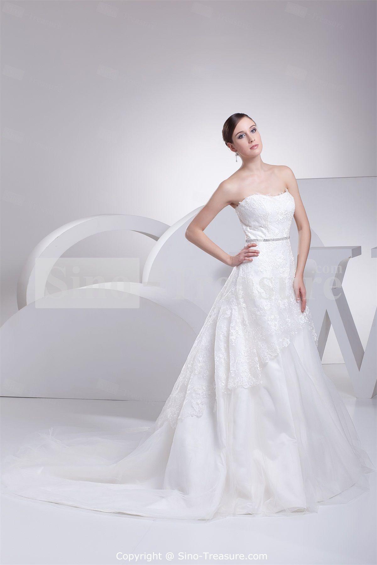 Strapless brush sweep train satin corsetback aline wedding dress