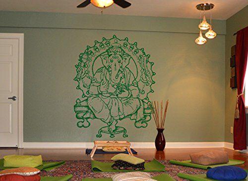 Ik466 Wall Decal Sticker Room Decor Wall Art Mural Indian God Om Elephant  Hindu Success Buddha