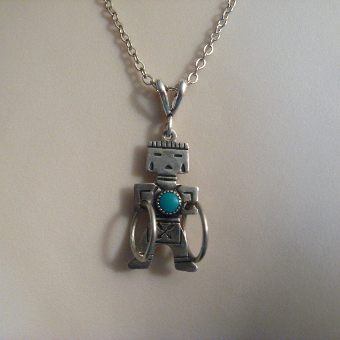 Sterling Silver Native American Turquoise Kachina Pendant Necklace Vintage Jewelry by VintageJoolsAndMore on Etsy