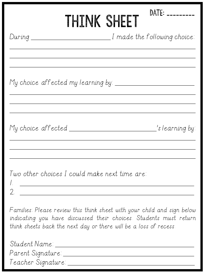 Think Sheets to Save your Sanity Freebie   Classroom ...