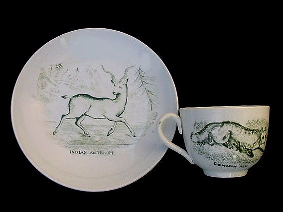 Exotic Green Miniature Transferware Cup & Saucer ~ SPORTING Animals
