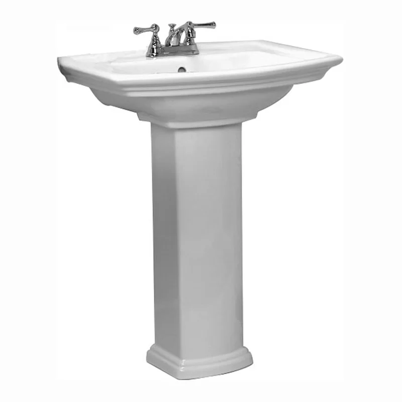 Gaynell Vitreous China Rectangular Pedestal Bathroom Sink With