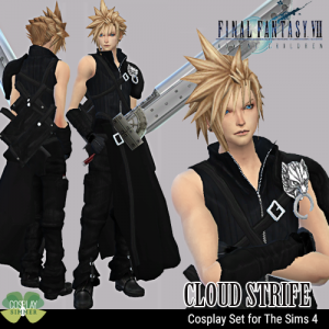 The Sims 4 Final Fantasy VII Cloud Strife Cosplay Set