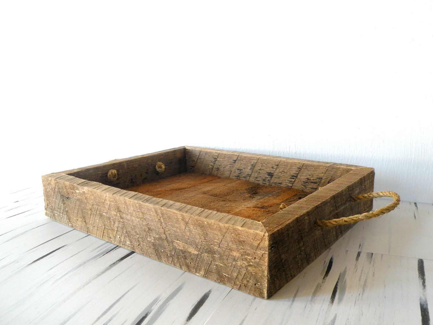 Reclaimed Barn Wood Serving Tray W Rope Handles 50 00