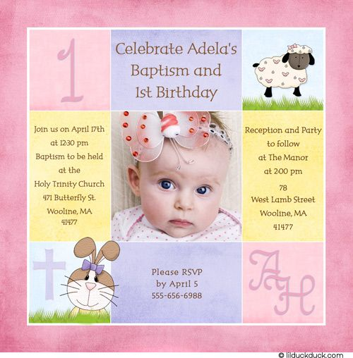 1st Birthday And Christening Baptism Invitation Sample
