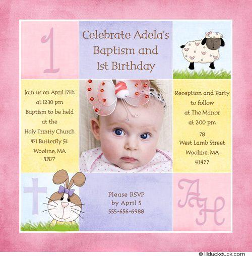 1st Birthday And Christening Baptism Invitation Sample