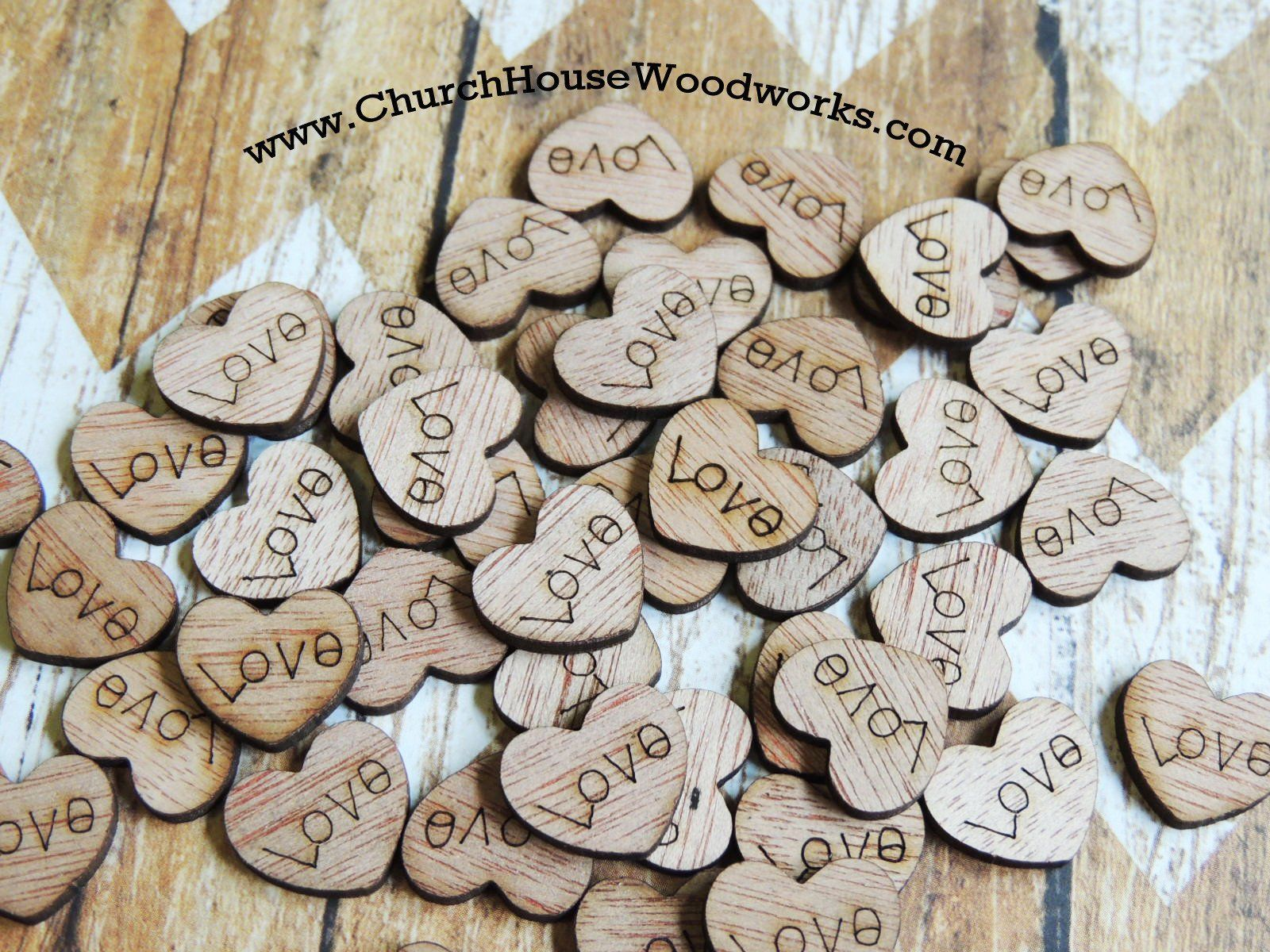 500 x Wedding Table Decorations Rustic Wooden Love Hearts Confetti Decor Favours