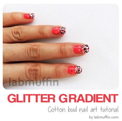 DIY Nails Art :DIY Glitter Nails Art : Nail art tutorial: How to create a glitter gradient using a cotton bud