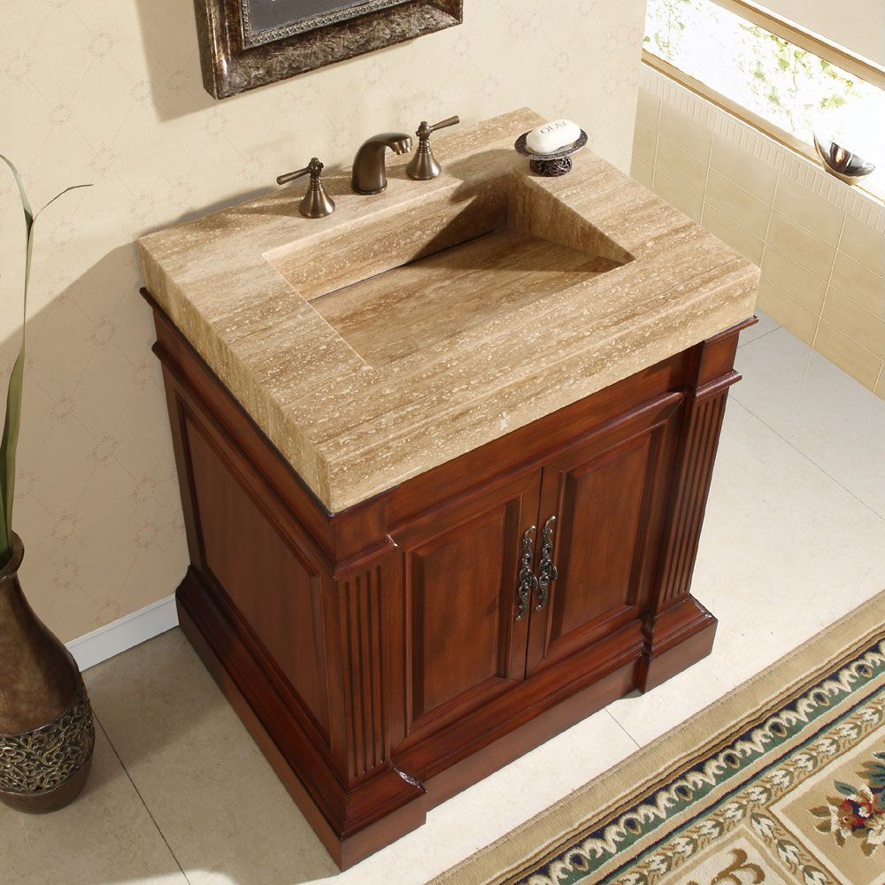 Silkroad Exclusive Travertine Top 33 Inch Single Sink Vanity