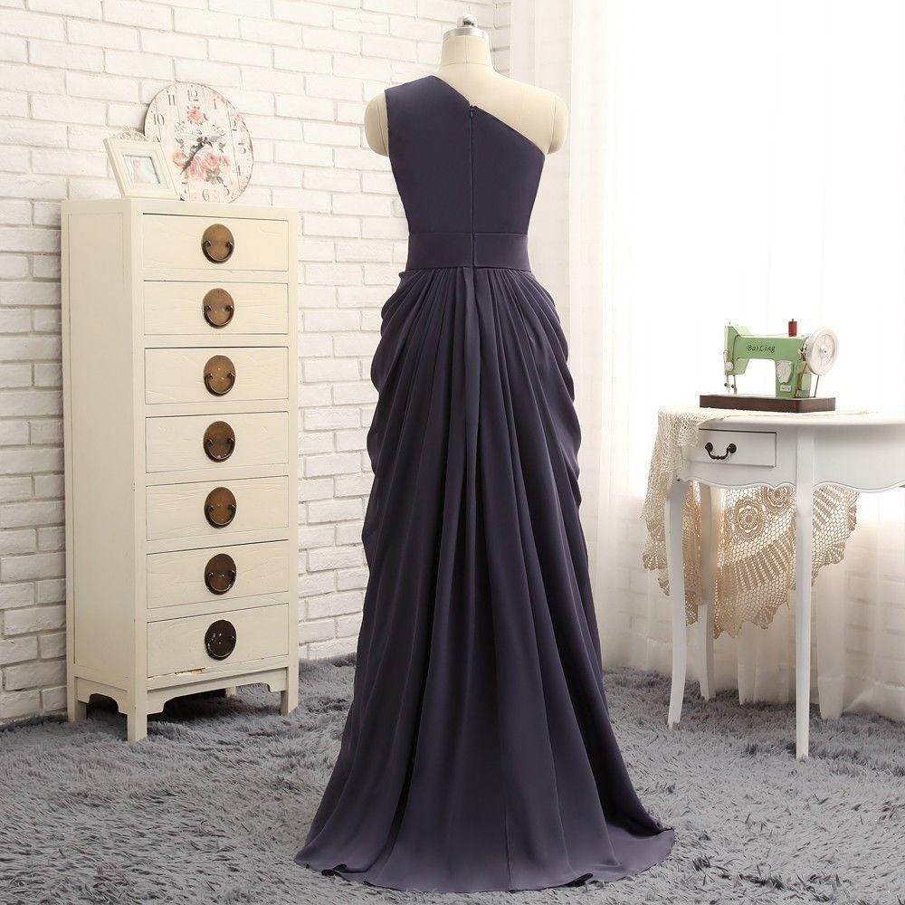 Aline oneshoulder gray chiffon pleated long bridesmaid dress