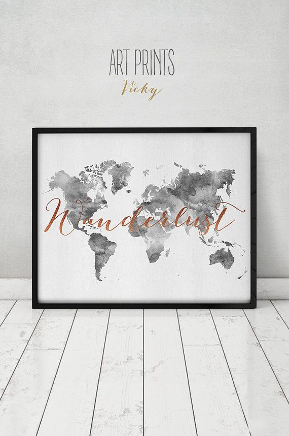 Wanderlust world map watercolor print travel map large world wanderlust world map watercolor print travel map by artprintsvicky gumiabroncs Gallery
